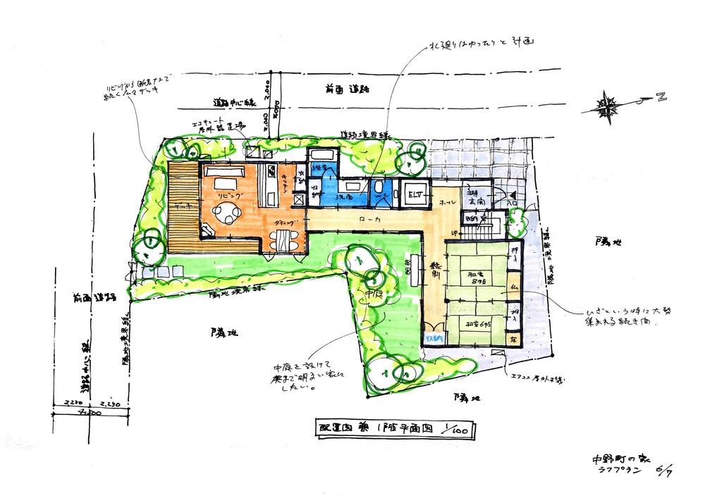 (仮称)中野町の家 提案図面 配置図兼1階平面図