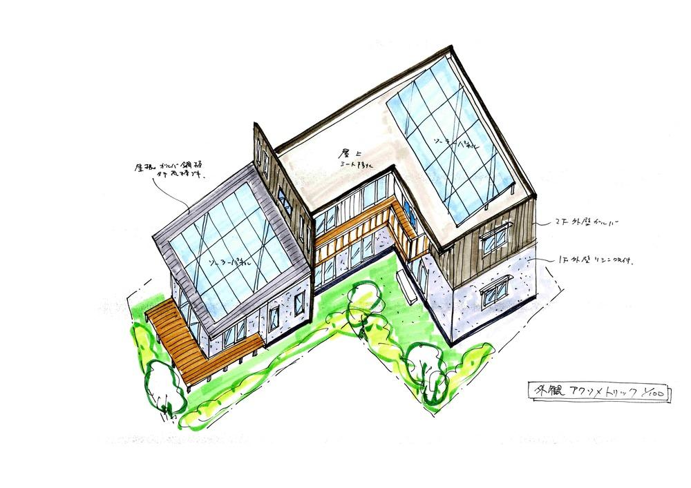 (仮称)中野町の家 提案図面 外観アクソメトリック