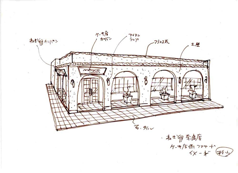 ねごと卵奈良店 ケーキ店側ファサード 提案図1